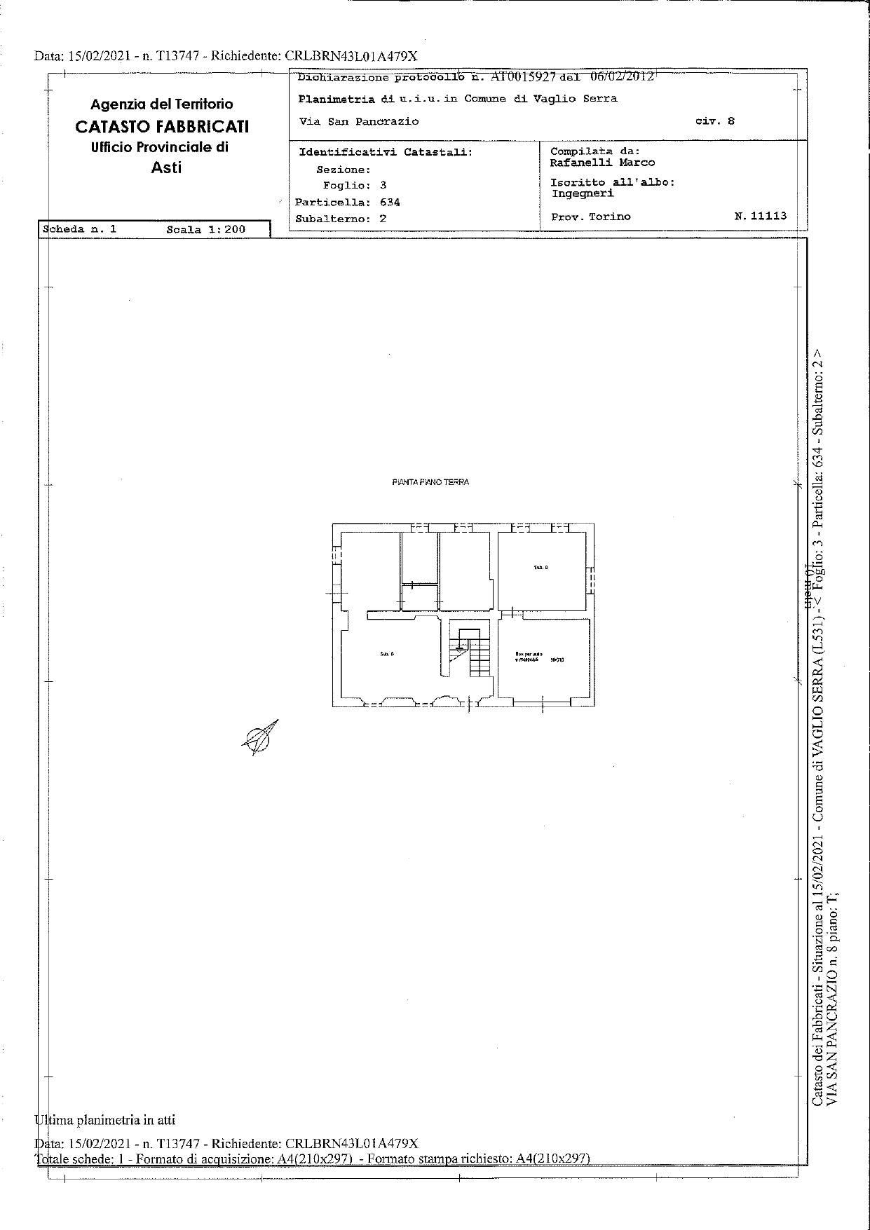Casa indipendente in vendita a Vaglio Serra (AT)